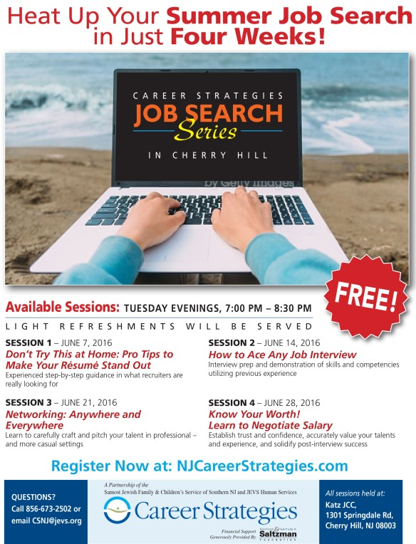 2016 summer job search CS South Jersey flyer for social